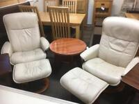 Cream leather stressless chair & stools * free furniture delivery *