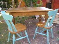 Chunky Solid Pine Kitchen Table with 4 Chais