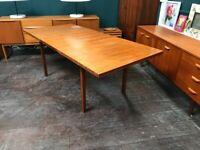 Teak Extending Mid Century Dining Table. Retro Vintage Mid Century. Danish Style