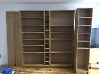 IKEA oak-effect tall bookcases with IKEA CD rack, £125 o.n.o.