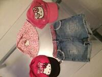 Hello kitty hats / denim shorts