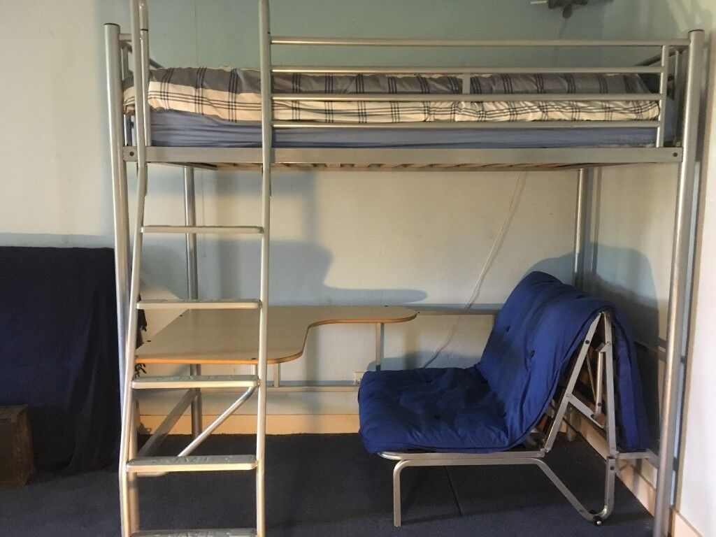 High Sleeper Bed Jay Be Studio 3 With Desk And Extra Futon Seat Below