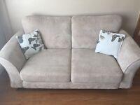 Cream Fabric 2 Seater Sofa. Very Good Condition.