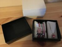 Jewellery giftset - bracelet, watch and necklace with pink stones.