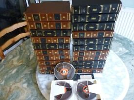 fourty 5 inch quality tapes with double sided tape storage albums for reel to reel tape recorders.
