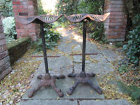 2 OLD TRACTOR SEAT BAR STOOLS, HEAVY CAST IRON
