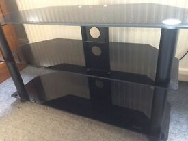 "Vonhaus Black Glass TV Stand - For TV's up to 42"". Perfect Condition."