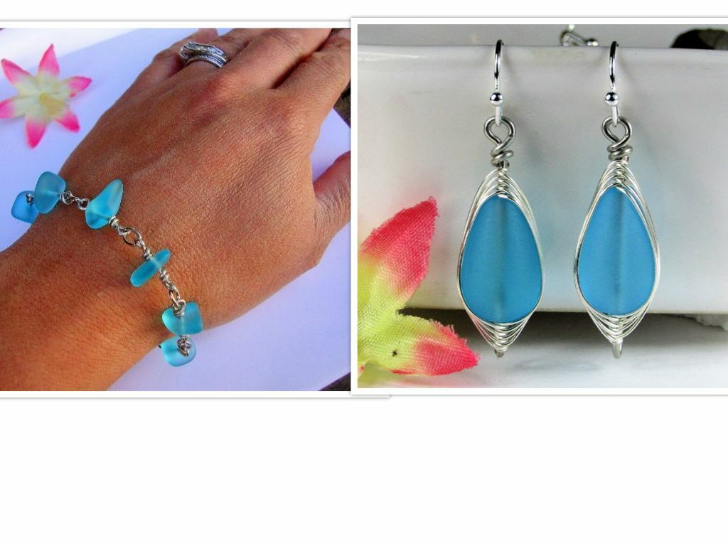 Caribbean Blue SEA GLASS Bracelet + Earring SET Handmade USA
