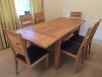 Provence Bentley design 6 ext.table and chair set, solid OAK