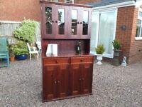 Vintage Style Solid Pine Rustic Farmhouse Glazed Kitchen Larder Pantry Cupboard Dresser Drawers
