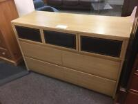 Alstons Oak / leather chest of drawers * free furniture delivery*
