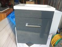 Small Sink Unit 220mm x 400mm White/Anthracite Grey Bargain £30