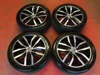 17'' GENUINE VW GOLF MK7 BLACK GT GTD GTI ALLOY WHEELS TYRES ALLOYS 5X112 CADDY PASSAT JETTA TOURAN