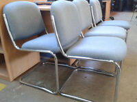 Set of 4 chrome framed office chairs
