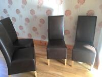 Set of Next brown leather dining chairs