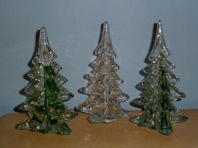 3 VINTAGE CHRISTMAS TREE ART GLASS MURANO STYLE GREEN CLEAR CRYSTAL GLOBAL ART