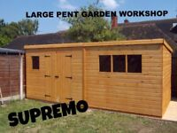 20 x 10 LARGE PENT GARDEN SHED HEAVY DUTY SHIP LAP DOUBLE DOORS FULLY ASSEMBLED BRAND NEW