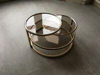 Mid-century Milo Baughman Style glass / brass 3 tier coffee table
