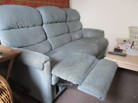 Free to collector: La-z-boy blue fabric recliner sofa and 2 armchairs