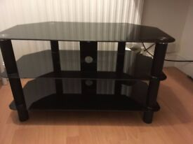 """Black Glass and Metal TV Stand for up to 37"""" TV"""