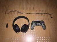 PS4 Gold Headset & Camo Controller