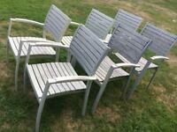 Outdoor wooden chairs & sunlounger