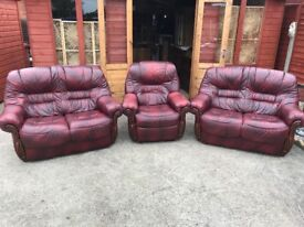 Oxblood Red Leather 3 Piece Suite Italian Style 2 x 2 Seater Sofas & Armchair - Delivery Available