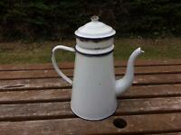 Vintage enamelled coffee jug cafetière
