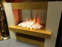 Modern Electric Fire and Wooden Surround