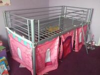 CHILDS BED,TUBULAR METAL GREY WITH TIE ONS FOR PLAY AREA UNDERNEATH
