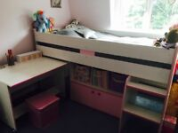 Kids single bed with storage 200cm L 90cm W in very good condition