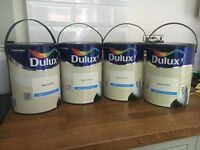 Unopened brand new 5 litre tins of Dulux matt emulsion in natural calico