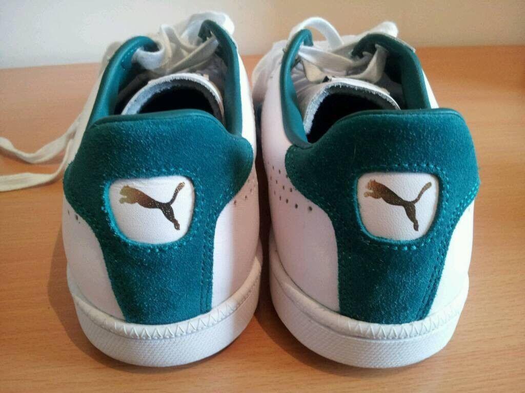 Puma Match trainers size 10 mens gents white leather retro Adidas Reebok