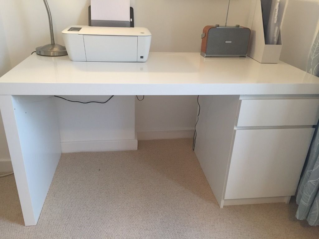Ikea Malm White Office Desk 140cm X 65cm
