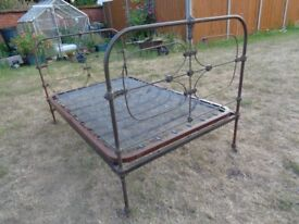 Vintage burnished metal small double bed frame (4FT/Industrial effect) - near Banham Zoo