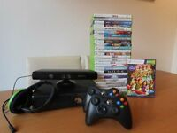 Xbox 360 Bundle with 28 games, steering wheel, two controllers, headset and kinect