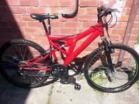 "mens mountain bike sabre 26"" wheels full size dual suspension"