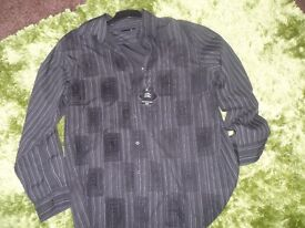 MENS BRAND NEW WITH TAGS BHS BLACK SOFT TOUCH LONG SLEEVE SHIRT SIZE EX-LARGE