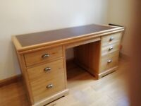 Oak desk leather top and chair