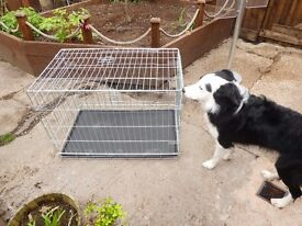 Dog crate and plastic dog bed