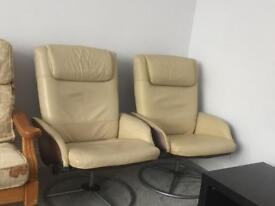 Cream real leather chairs