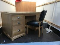 Wooden desk with leather chair