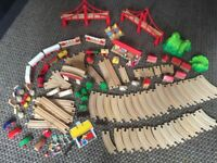 Wooden HABA train track set, approximately 100pieces