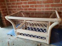 Quality Conservatory Furniture white distressed wicker with muted floral fabric in blue