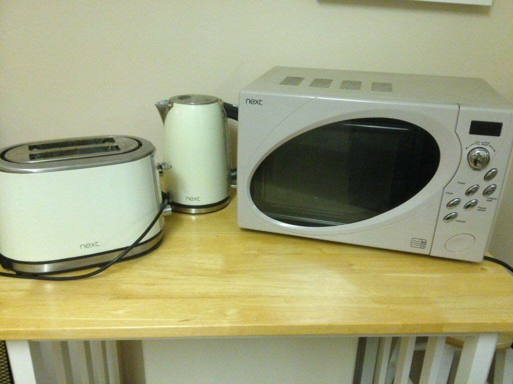 Next Mushroom Colour Microwave With Kettle And Toaster