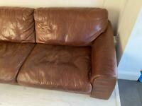 Distressed Large Brown Leather Sofa l