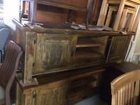 Long rustic oak tv unit new