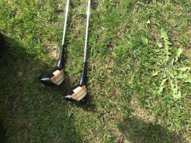 1970's wooden vintage golf clubs with enamel front