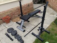 Weight lifting bench, weights and bars