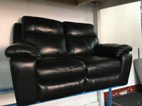 New/Ex Display LazyBoy Black High Grade Leather 2 Seater Recliner Sofa